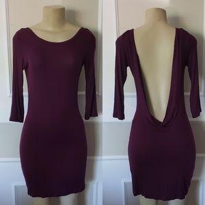 VS micro ribbed backless dress, 3/4 sleeve- maroon